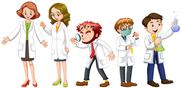 Cientistas masculinos e femininos em vestido branco