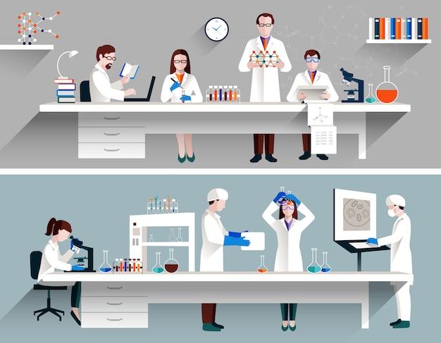 Cientistas no conceito de laboratório