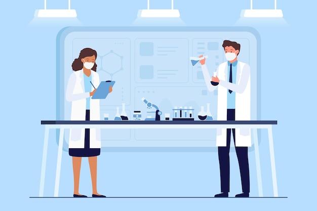 Cientistas no conceito de vacina de laboratório