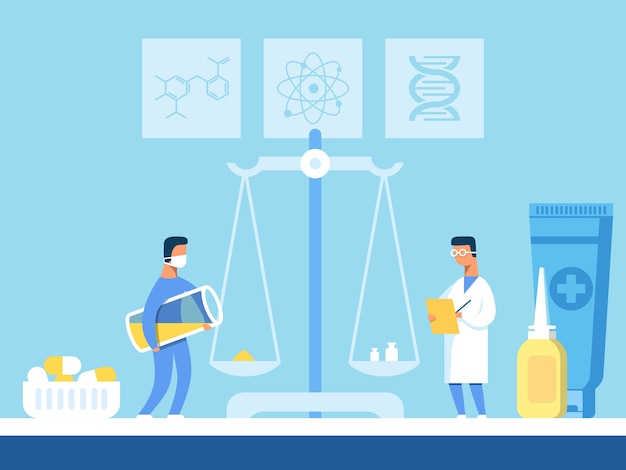 Cientistas pesam componentes para novos comprimidos em balanças