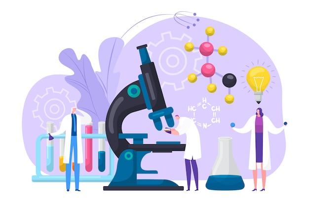 Cientistas pesquisam ilustração de conceito de laboratório químico ou médico