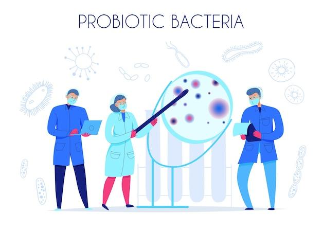 Cientistas pesquisando bactérias probióticas em ilustração plana de laboratório de ciências