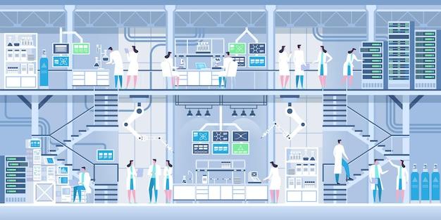 Cientistas profissionais no interior de um laboratório moderno