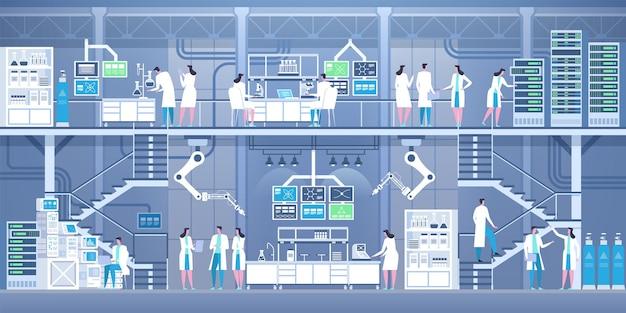 Cientistas profissionais no interior do laboratório moderno.