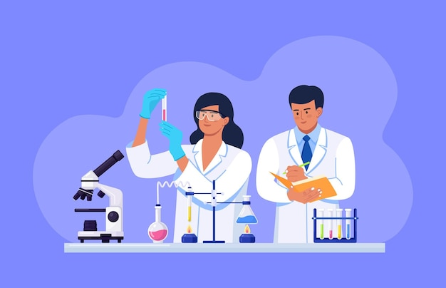 Cientistas que realizam pesquisas científicas, análises e testes de vacinas. equipe do laboratório de ciências bioquímicas realizando vários experimentos. desenvolvimentos e descobertas em microbiologia, química
