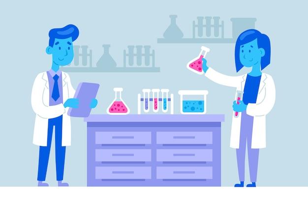 Cientistas que trabalham com elementos químicos