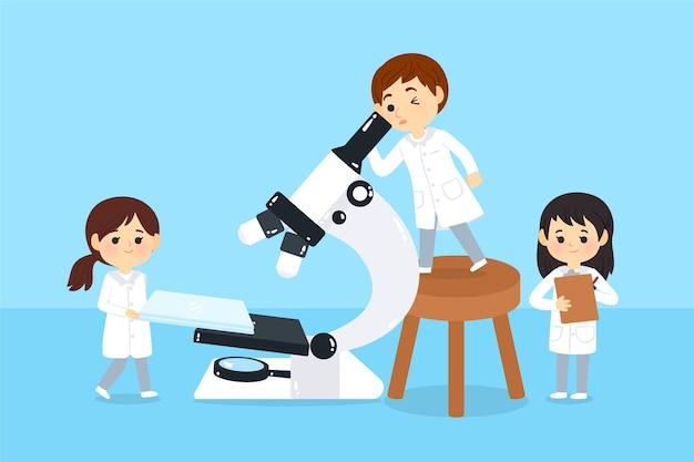 Cientistas que trabalham com microscópio