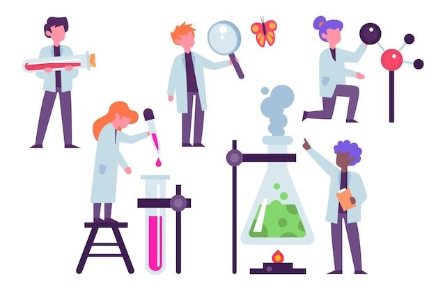Cientistas que trabalham com objetos de laboratório