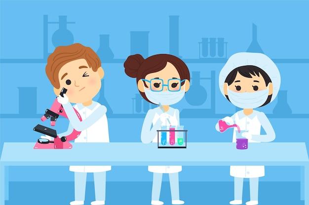Cientistas que trabalham com produtos químicos