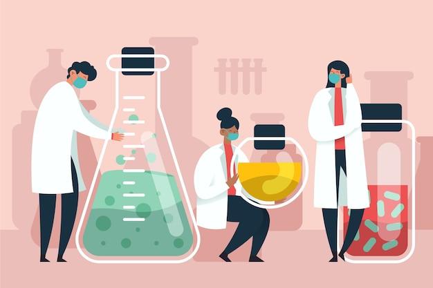 Cientistas que trabalham em um laboratório de ciências
