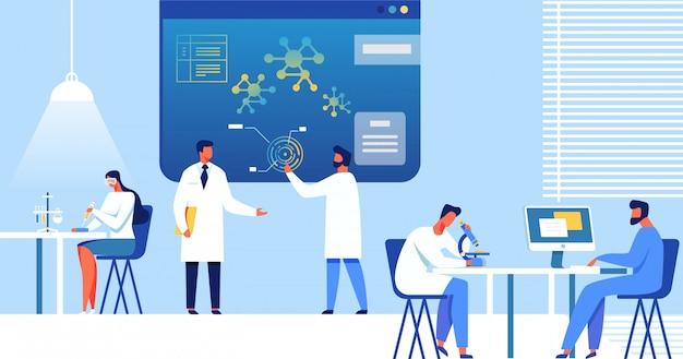 Cientistas que trabalham no laboratório, nanotecnologia.