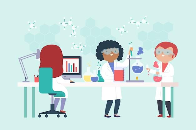 Cientistas que trabalham no laboratório
