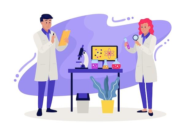 Cientistas que trabalham