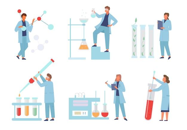 Cientistas realizam conjunto de laboratório de experimentos bioquímicos.