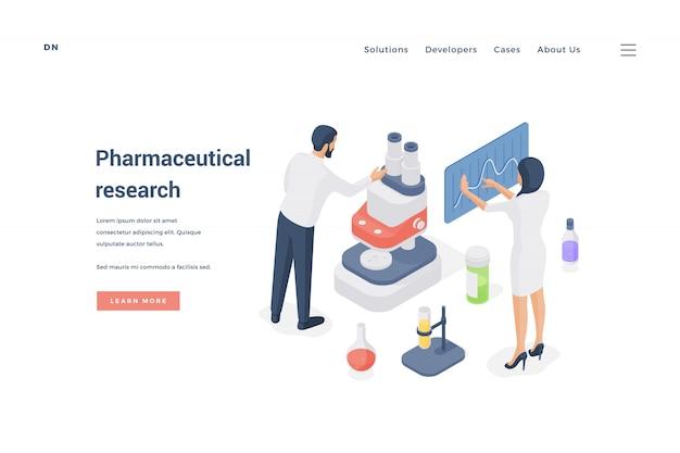 Cientistas realizando pesquisas farmacêuticas juntos. ilustração