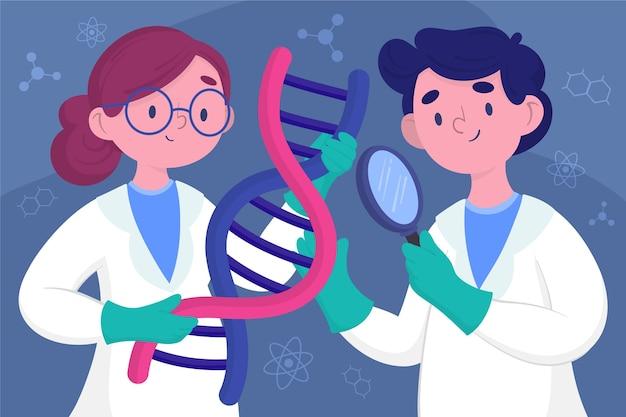 Cientistas segurando ilustração de moléculas de dna