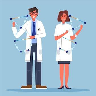 Cientistas segurando moléculas de dna