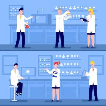 Cientistas trabalhando em jalecos
