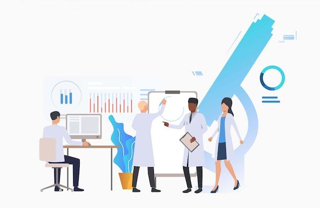 Cientistas, trabalhando, em, modernos, laboratório