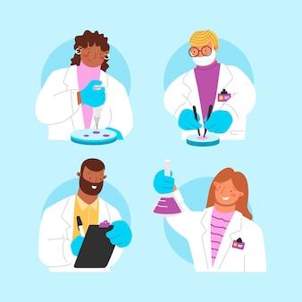Cientistas trabalhando em projetos