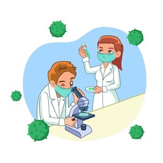 Cientistas trabalhando em uma vacina cercada por vírus