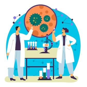 Cientistas trabalhando ilustração