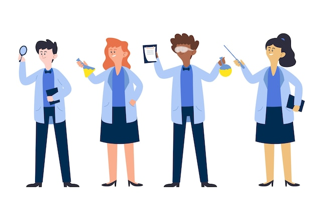 Cientistas trabalhando ilustrado
