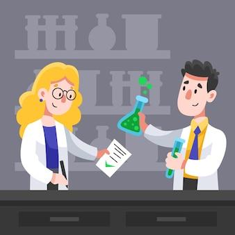 Cientistas trabalhando juntos para uma fórmula