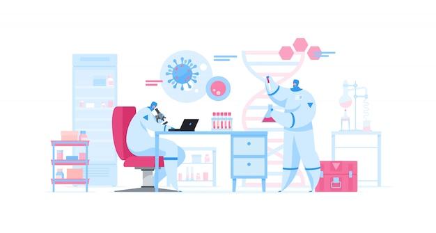 Cientistas trabalhando na vacina contra vírus em laboratório