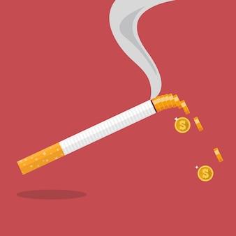Cigarro com uma moeda formada de fumaça