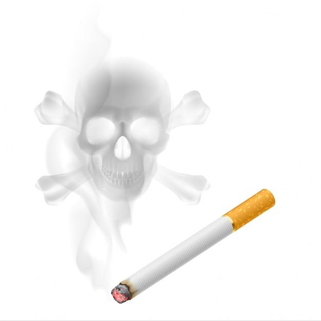 Cigarro e fumaça em forma de caveira