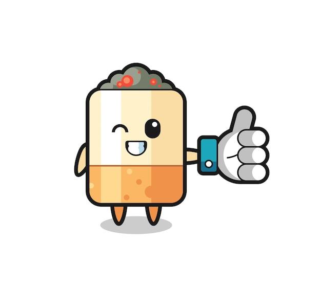 Cigarro fofo com símbolo de polegar para cima nas redes sociais, design fofo