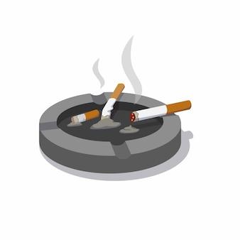 Cigarro no cinzeiro com fumaça e sombra