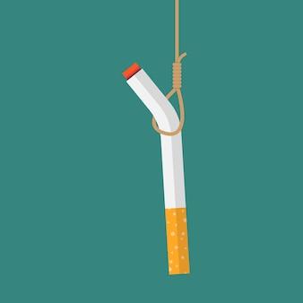 Cigarro pendurado com o conceito de corda