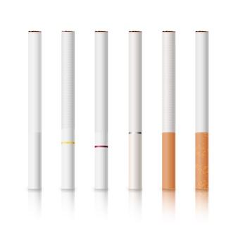 Cigarros ajustados com filtros brancos e amarelos