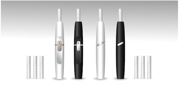 Cigarros eletrônicos com corpo branco e preto e bengalas.