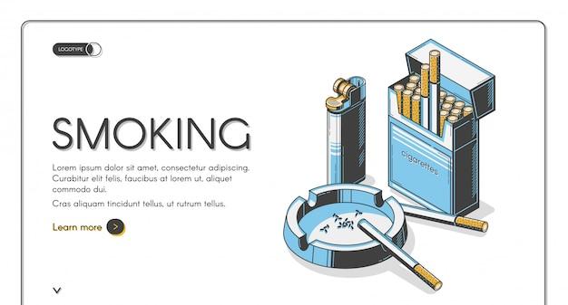 Cigarros na embalagem com cinzeiro e isqueiro