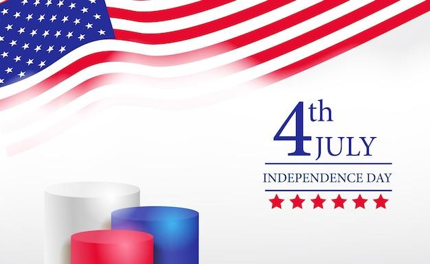 Cilindro 3d de exibição pódio para banner dia independente americano de 4 de julho com modelo de bandeira americana de onda