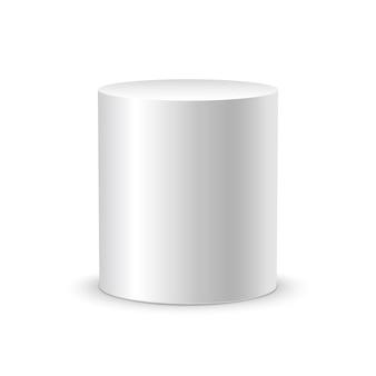Cilindro branco sobre fundo branco isolado. molde do projeto do recipiente do cilindro do objeto 3d.