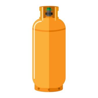 Cilindro de gás isolado no fundo branco. armazenamento de combustível de vasilha contemporâneo. garrafa de propano amarelo com recipiente de ícone de alça em ilustração vetorial de estilo simples.