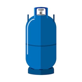 Cilindro de gás longo isolado no fundo branco. armazenamento de combustível em vasilha alta. garrafa de propano azul com recipiente de ícone de duas alças em ilustração vetorial de estilo simples.