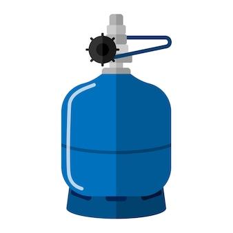 Cilindro de gás pequeno isolado no fundo branco. armazenamento de combustível em vasilha curta. garrafa de propano azul com recipiente de ícone de alça em ilustração vetorial de estilo simples.