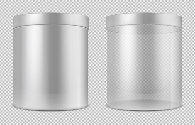 Cilindro de vidro transparente vazio e latas brancas. pacote para alimentos, biscoitos e presentes vetor modelo isolado