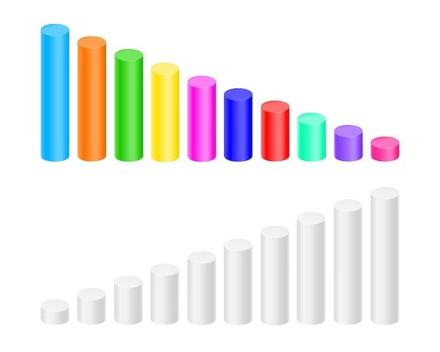 Cilindros coloridos e brancos. gráfico de barras, elementos do gráfico de coluna para infográfico de estatísticas de finanças. sinais de crescimento e diminuição. ilustração em vetor 3d.