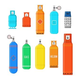 Cilindros de gás diferentes isolados no fundo branco. conjunto de equipamento de campismo de alta pressão de gás comprimido liquefeito para armazenamento de combustível. ilustração colorida em estilo simples,