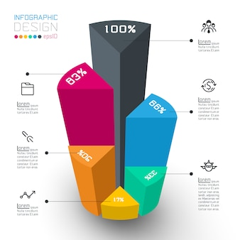 Cilindros isométricos coloridos de infográficos.