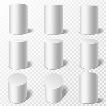 Cilindros. pódios brancos redondos realistas em diferentes pontos de vista. pedestais ou pilares de cilindro com sombra, coleção de forma geométrica simples, vetor 3d isolado em maquetes de fundo transparente definido