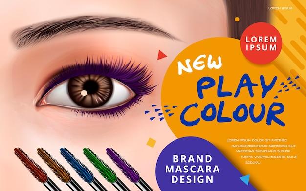 Cílios e pincéis coloridos para ilustração de uso publicitário