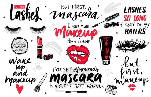 Cílios, rímel, conjunto de maquiagem com olhos, lábios vermelhos, batom, sombra e citações ou frases.