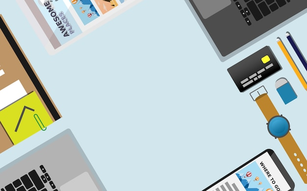 Cima para baixo vista plana da área da mesa de trabalho com espaço da cópia